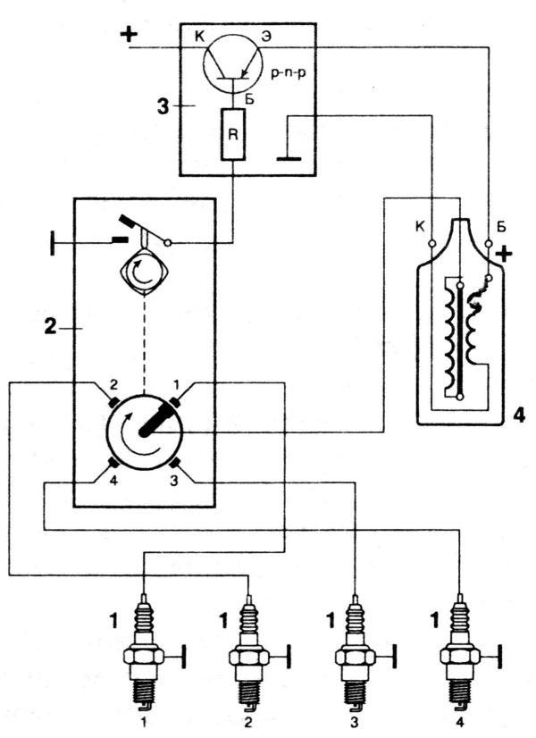Конденсаторы С3 - С6, стабилитрон VD3 и диод VD4 осуществляют защиту...  Схема бесконтактной системы зажигания.