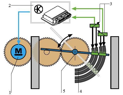 Положение дроссельной заслонки отслеживается с... Рис.  Схема управления дроссельной заслонкой: 1 - электропривод; 2...