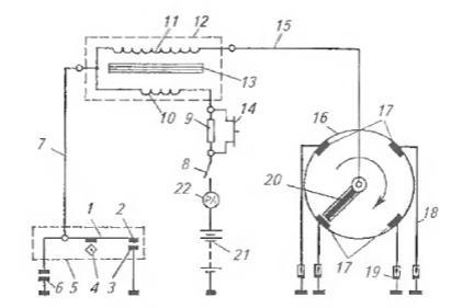 Схема батарейной системы зажигания: 1 - рычажок прерывателя; 2 - подвижной контакт; 3 - неподвижный контакт; 4...