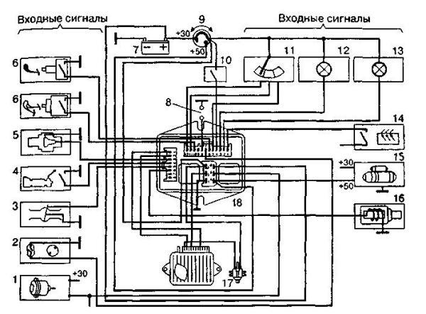 "Схема системы  ""Стоп-старт "".  Skhema sistemy Stop-start."