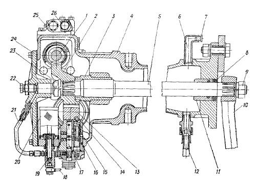 Гидроусилитель рулевого управления трактора МТЗ-80 (МТЗ-82): 1 - червяк; 2 - сектор; 3 - верхняя втулка; 4 - корпус...