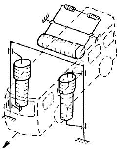 Схема щеточной установки для мойки боковых сторон и верха кузова автобуса