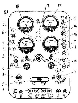 ...б - электрическая схема; 1 - выключатель ступеней сопротивления; 2...
