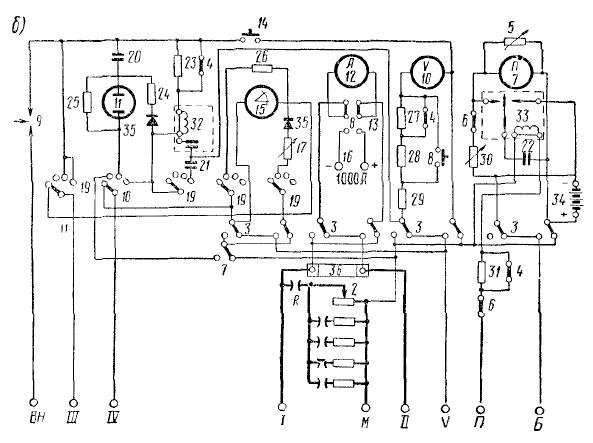 б — электрическая схема;