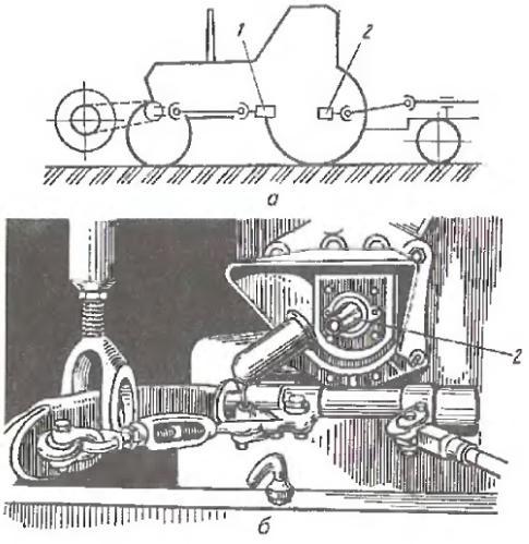 а — положение на тракторе;