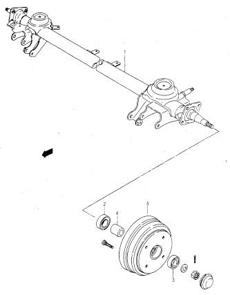 ...1 - задняя ось, 2 - внутренний подшипник, 3 - наружный подшипник, 4 - дистанционная втулка, 5 - тормозной барабан.