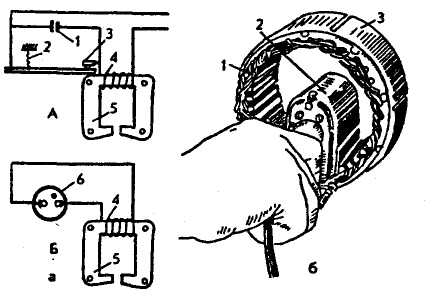а — схема дефектоскопа
