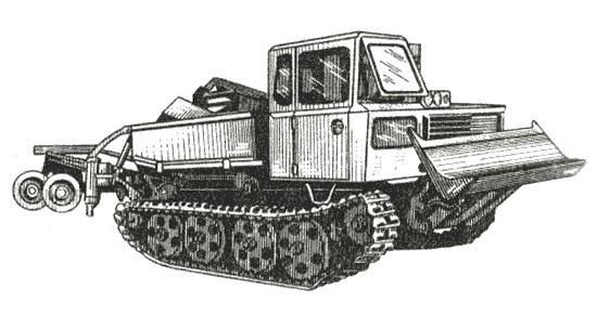 Принципиальная компоновочная схема лесохозяйственного трактора аналогична схеме трелевочного трактора ТДТ-55.