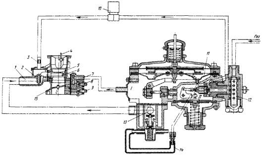 Рис. Схема соединения газовых