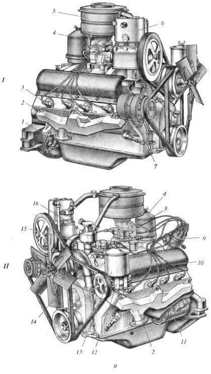 Составные части разных систем двигателей