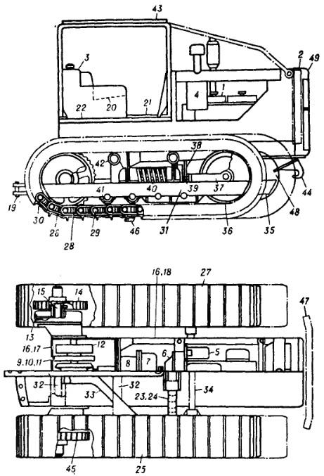 Схема гусеничного трактора