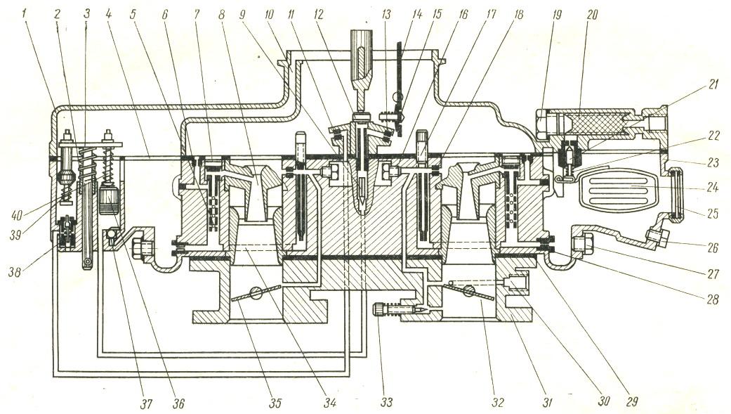 Рис. Схема карбюратора К-126П:
