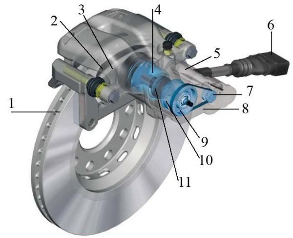 Общая компоновка стояночного тормоза с электроприводом
