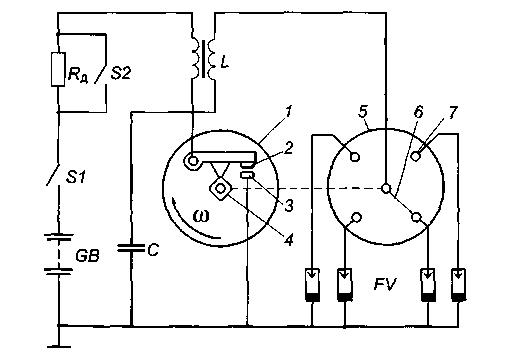 Skhema kontaktnoi sistemy zazhiganiya - Схема контактной системы зажигания