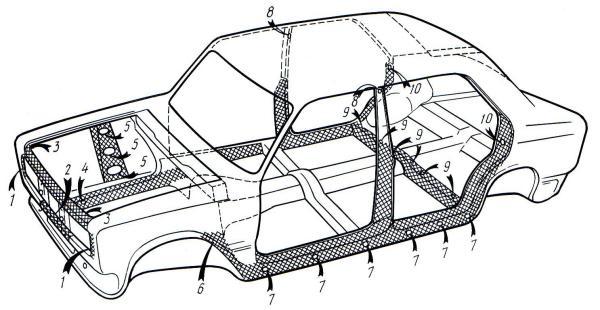 Скрытые полости кузова (вид слева)