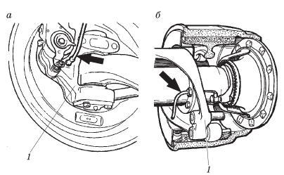 Расположение датчика АБС на колесном тормозном механизме тормозной системы с пневмоприводом