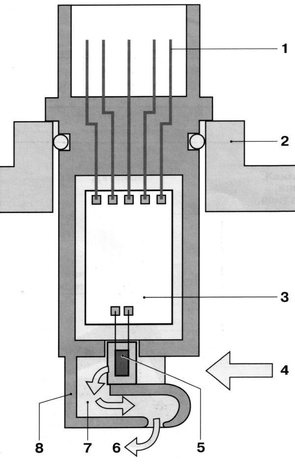 Схема массового расходомера воздуха с пленочным термоанемометром
