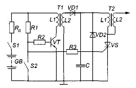 Тиристорная система зажигания с импульсным накоплением энергии в электростатическом поле конденсатора