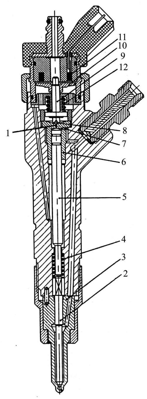 Разрез электрогидравлической форсунки фирмы Бош