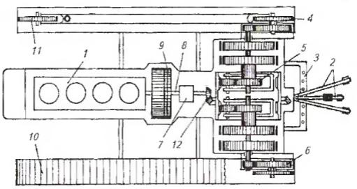 Схема расположения основных частей, механизмов и деталей гусеничного трактора