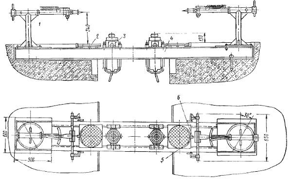 Общий вид механического стенда для замера углов установки колес легковых автомобилей