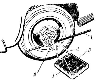 Переносный жидкостный прибор для проверки углов установки передних колес автомобиля