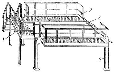 Электромеханический четырехстоечный подъемник с поднимающимися рабочими площадками