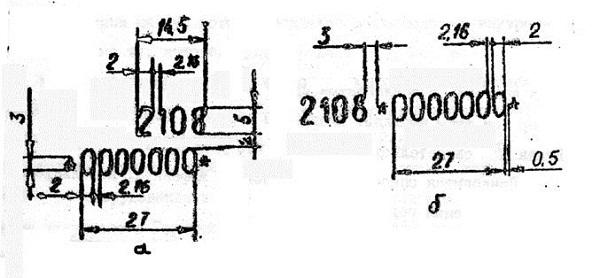 Параметры и расположение знаков в обозначении номера