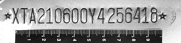 Вид идентификационного номера ВАЗ