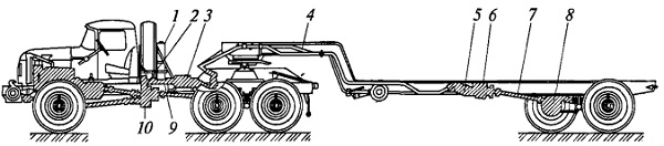 Компоновка агрегатов гидрообъемного бустерного привода осей полуприцепа