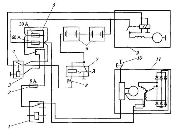 Схема системы пуска и электроснабжения дизеля