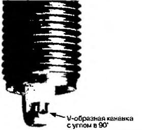 Свеча с V-образной канавкой на электроде