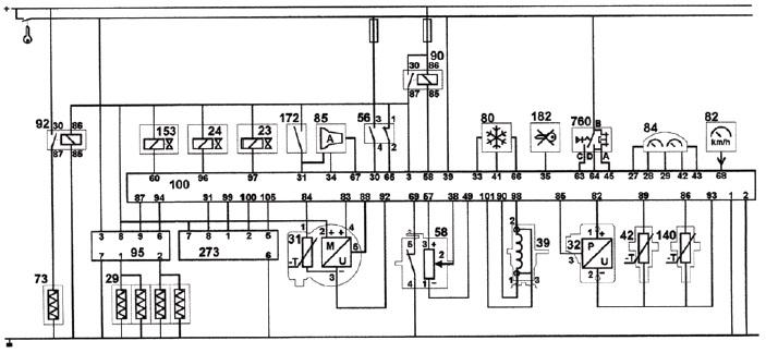 Электросхема системы управления двигателем X20DTL автомобиля ОПЕЛЬ