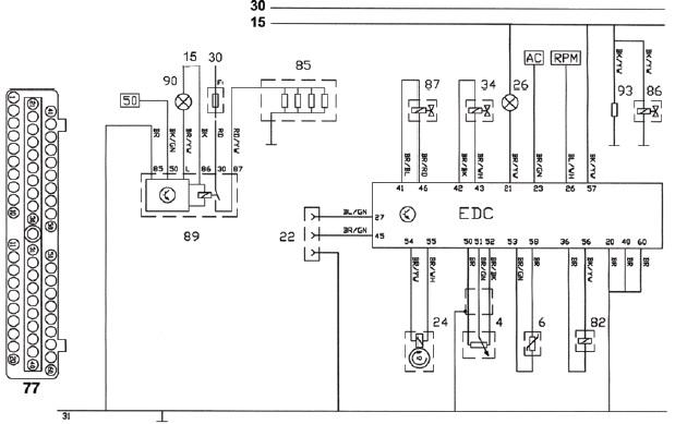 Электросхема системы управления двигателем автомобиля ФОРД 2,5 л ТСI