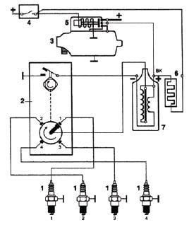 Схема соединения катушки зажигания с контактной системой зажигания