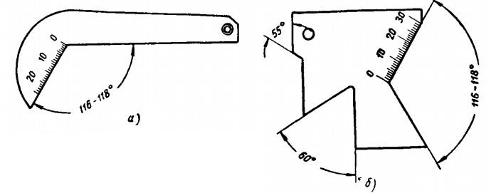 Шаблоны для проверки угла заточки спиральных сверл